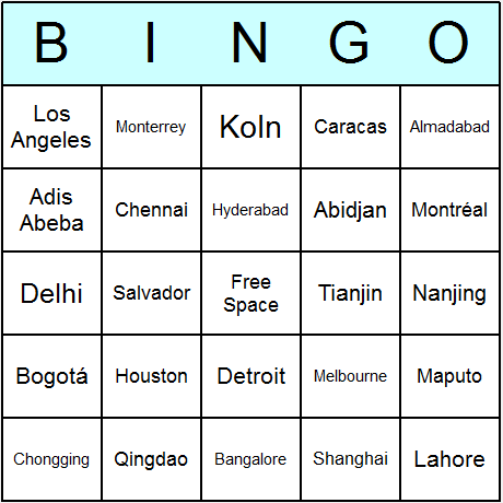 100 Largest Cities Bingo Card