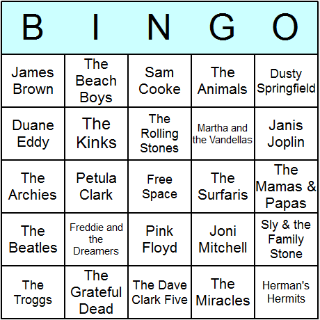 1960s Music Bingo Card