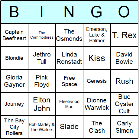 1970s Music Bingo Card