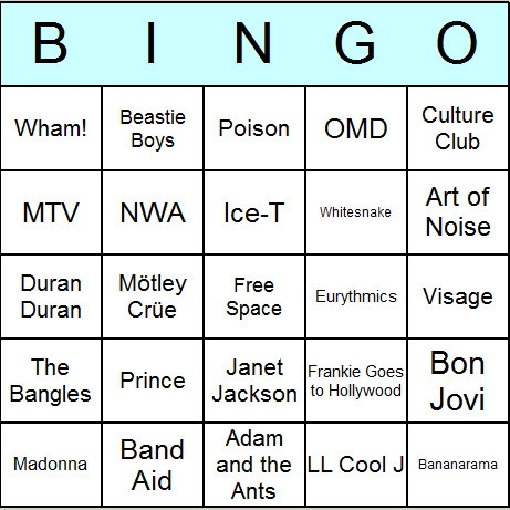 picture regarding Musical Bingo Cards Printable known as 1980s Tunes Bingo Playing cards - Printable bingo game, match