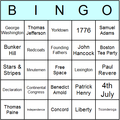 4th July Bingo Card