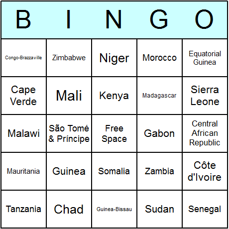 African Countries Bingo Card