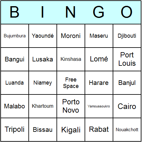 African Countries' Capitals Bingo Card