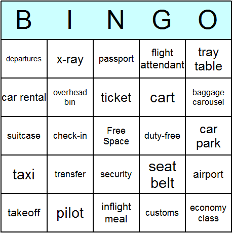 Air Travel Bingo Card