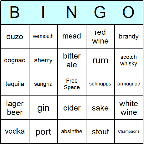 Alcoholic Drinks Bingo Card