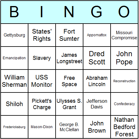 American Civil War Bingo Card