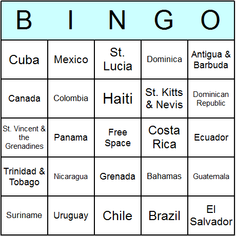 American Countries Bingo Card