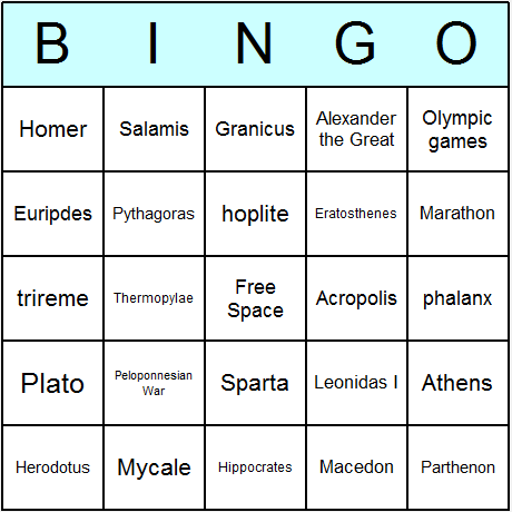Ancient Greece Bingo Card