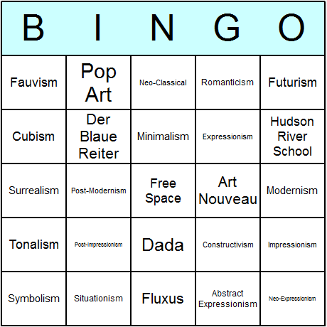 Art Movements Bingo Card