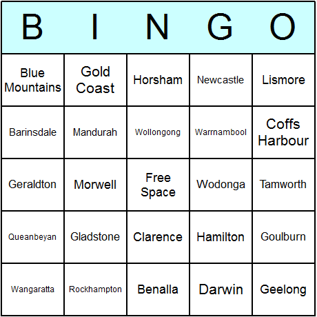Australian Cities Bingo Card