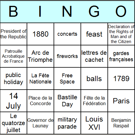 Bastille Day Bingo Card