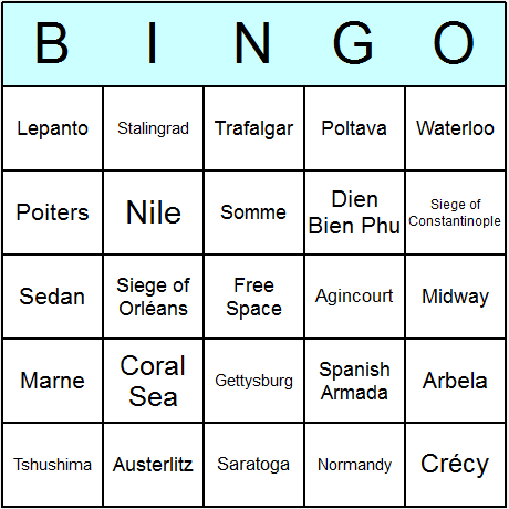 Battles Bingo Card