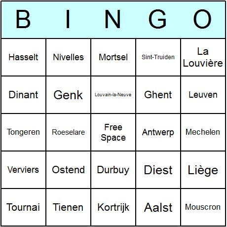 Belgian Towns & Cities Bingo Card