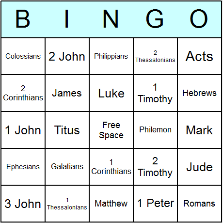 Bible New Testament Books Bingo Card