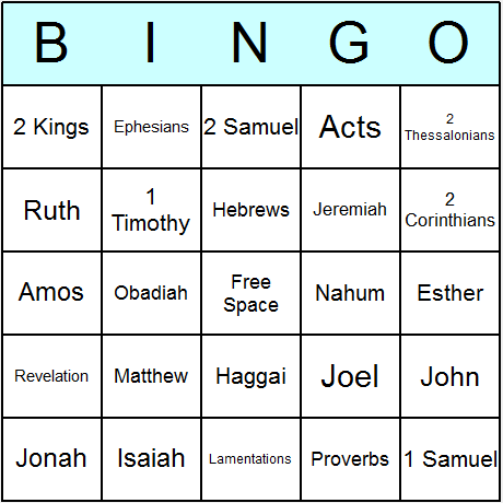 Bible Old & New Testament Books Bingo Card