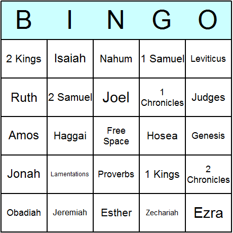 Bible Old Testament Books Bingo Card