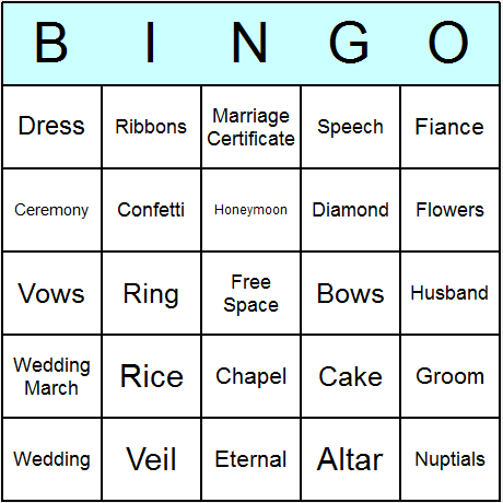 Bridal Shower Bingo Card