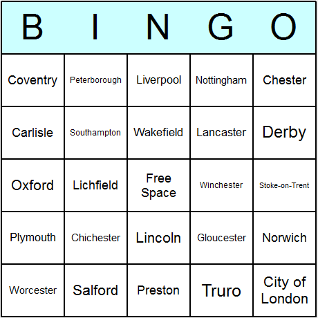 British Cities Bingo Card