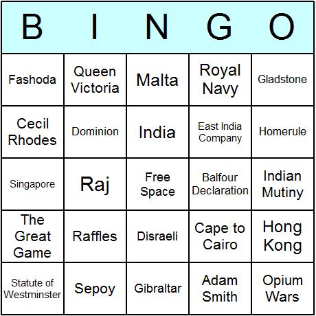 British Empire Bingo Card