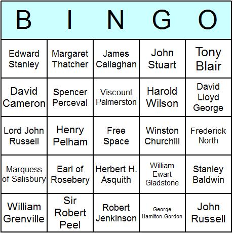 British Prime Ministers Bingo Card