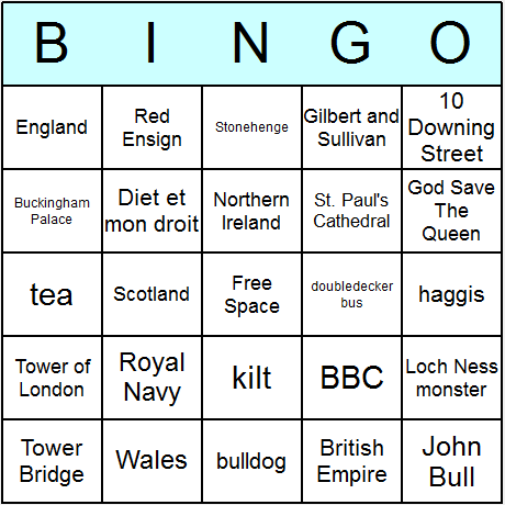 British Symbols & Culture Bingo Card