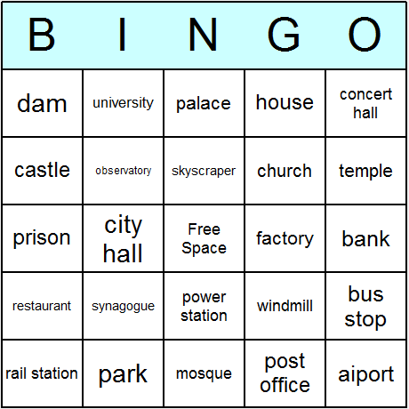 Buildings Bingo Card