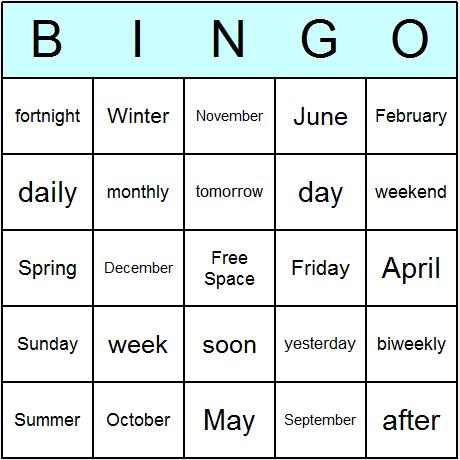 Calendar Bingo Card