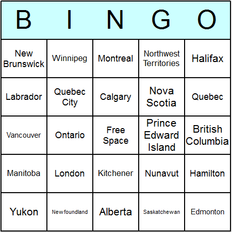 Canada Bingo Card