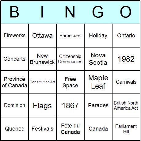 Canada Day Bingo Card