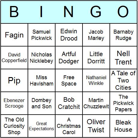 Charles Dickens Bingo Card