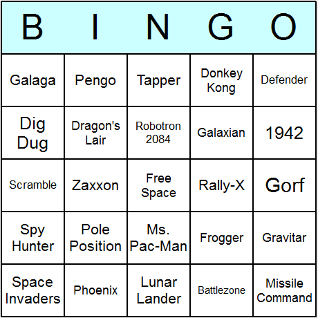 Classic Video Games Bingo Card