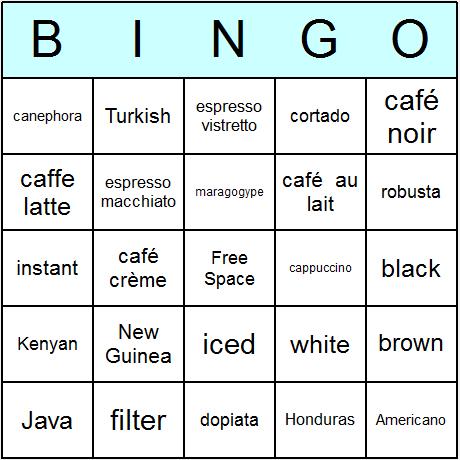 Coffee Bingo Card