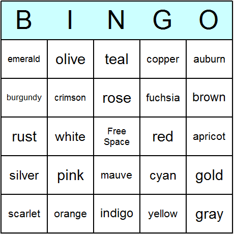 Colors Bingo Card