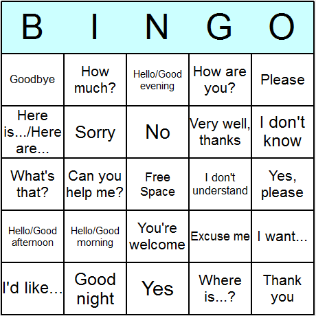 Common Phrases Bingo Card