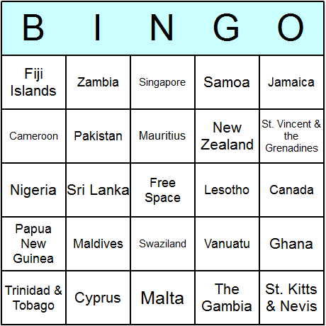 Commonwealth Countries Bingo Card