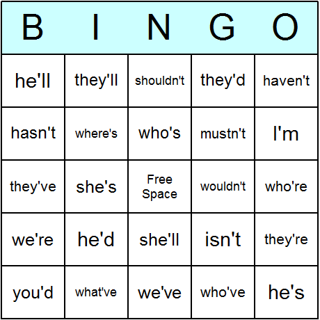 Contractions Bingo Card