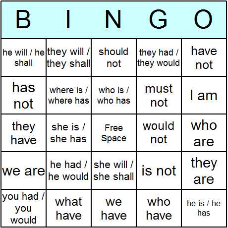 Contractions Uncontracted Phrases Bingo Card