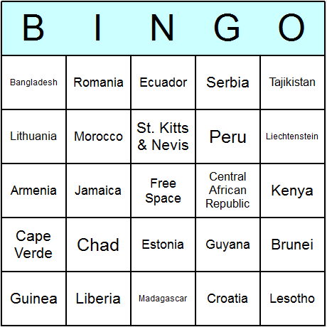 Countries of the World Bingo Card