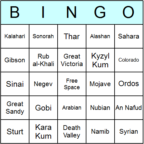 Deserts Bingo Card