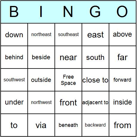 Directions Bingo Card