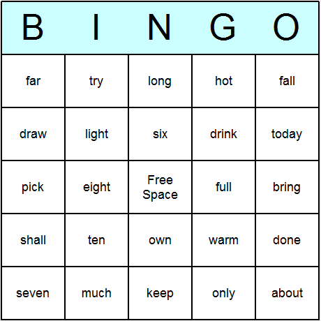 Dolch Sight Words 3rd Grade Bingo Card