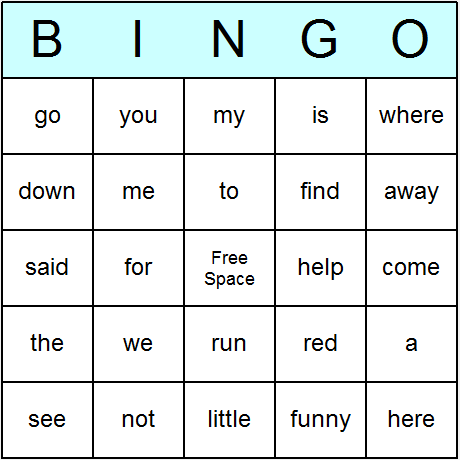 Dolch Sight Words Pre-Primer Bingo Card