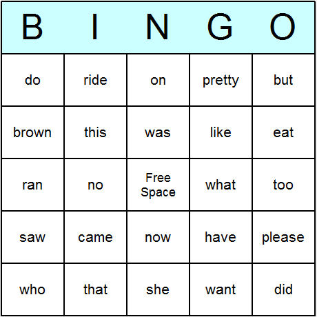 Dolch Sight Words Primer Bingo Card