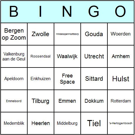 Dutch Towns & Cities Bingo Card