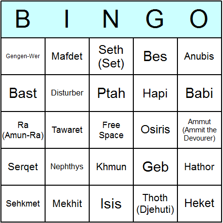 Egyptian Gods & Goddesses Bingo Card