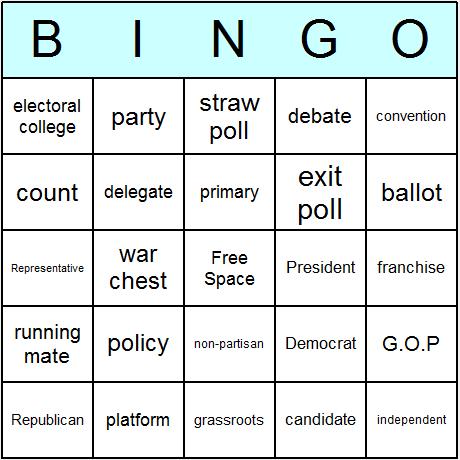 Elections & Politics Bingo Card