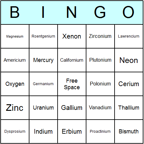 Elements Bingo Card