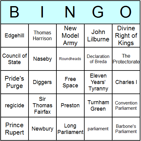 English Civil War Bingo Card