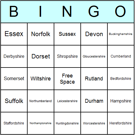 English Historic Counties Bingo Card