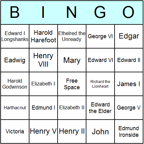 English Kings & Queens Bingo Card